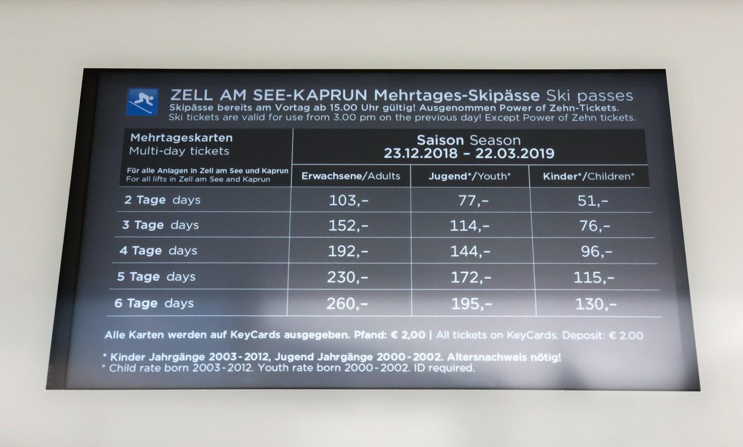 De prijzen van skipassen